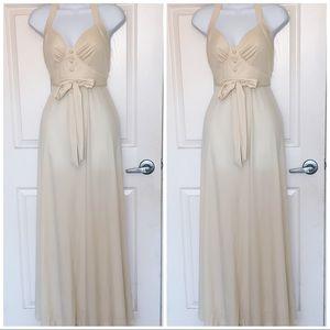 ✨ 70's Vintage Cream Halter Maxi Dress